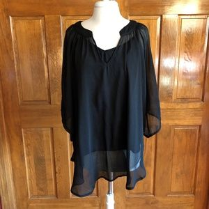 Haani Black Sheer Tunic Top with attached Camisole
